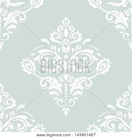 Oriental classic white pattern. Seamless abstract background with repeating elements