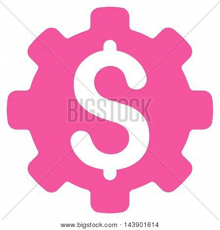 Industrial Capital icon. Vector style is flat iconic symbol with rounded angles, pink color, white background.