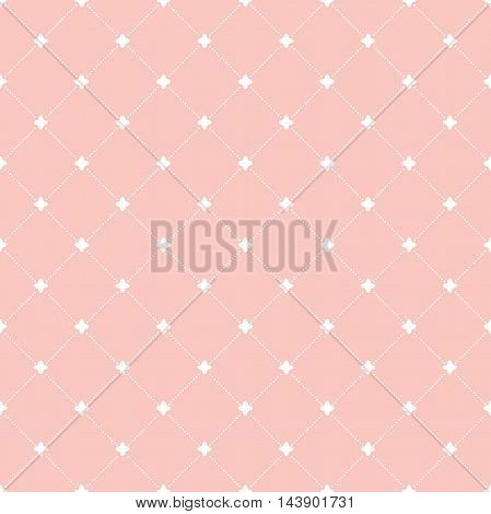 Geometric repeating ornament with diagonal dotted lines. Seamless abstract modern pink and white pattern
