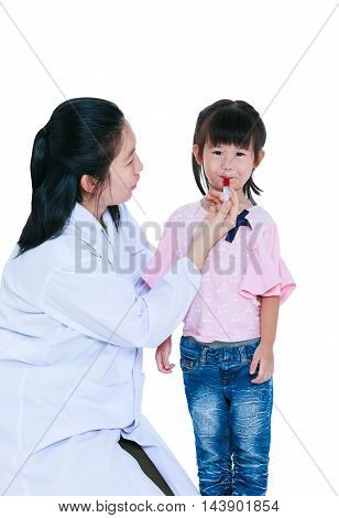 Doctor Giving Child Medication By Syringe. Isolated On White Background.