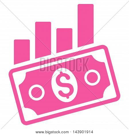 Sales Bar Chart icon. Vector style is flat iconic symbol with rounded angles, pink color, white background.