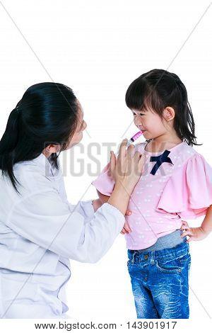 Doctor Giving Child Medication By Syringe. Isolated On White Background.