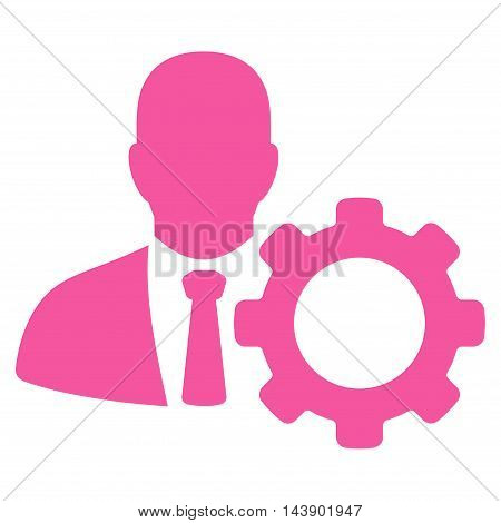 Serviceman icon. Vector style is flat iconic symbol with rounded angles, pink color, white background.