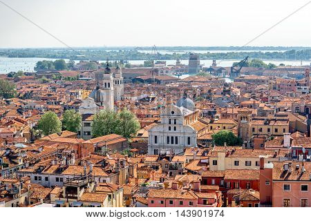 Aerial view on Castello region with San Zaccaria church in Venice