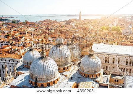 Aerial view on Venice with domes of Saint Mark's basilica