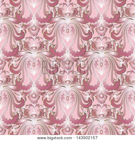 Light pink modern royal baroque vector seamless pattern background with vintage big white volumetric  ornaments with silver outline.Luxury  illustration and 3d vintage decor elements with shadow and highlights. Endless elegant  texture.