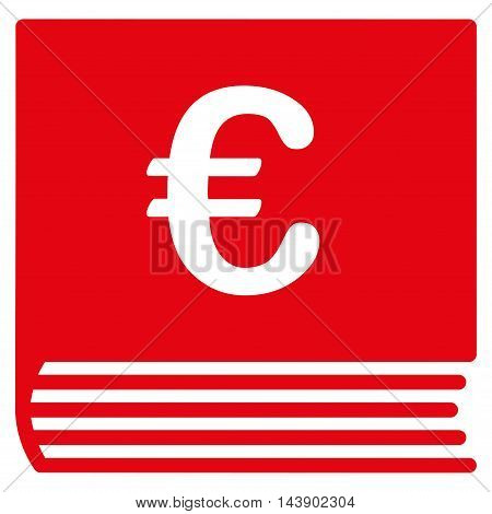 Euro Sales Book icon. Vector style is flat iconic symbol with rounded angles, red color, white background.