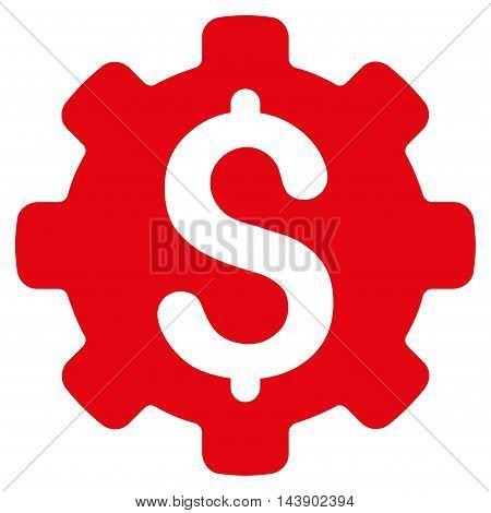 Industrial Capital icon. Vector style is flat iconic symbol with rounded angles, red color, white background.