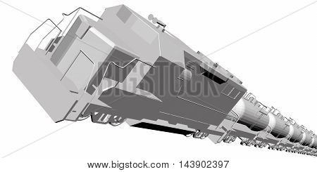 Vector illustration of 3D train with cargo. Isolated. EPS 8.