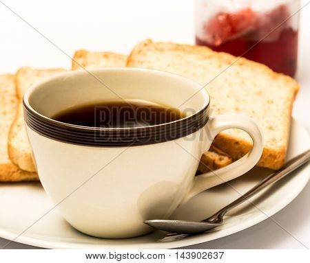 Bread And Coffee Shows Meal Time And Beverages