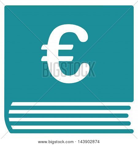 Euro Sales Book icon. Vector style is flat iconic symbol with rounded angles, soft blue color, white background.