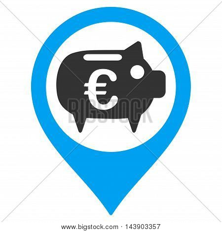 Euro Bank Pointer icon. Vector style is bicolor flat iconic symbol with rounded angles, blue and gray colors, white background.