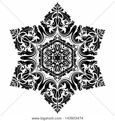 Oriental pattern with arabesques and floral elements. Traditional classic ornament. Hexagonal black and white pattern