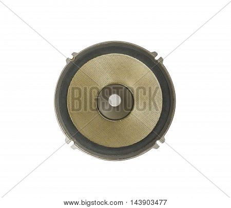 Part of gold and black old car audio speaker isolated on white background