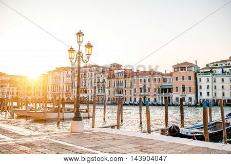 Venice cityscape view on Grand canal from Campo della Salute at the sunset