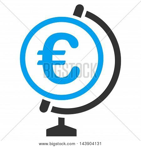 Euro Globe icon. Vector style is bicolor flat iconic symbol with rounded angles, blue and gray colors, white background.