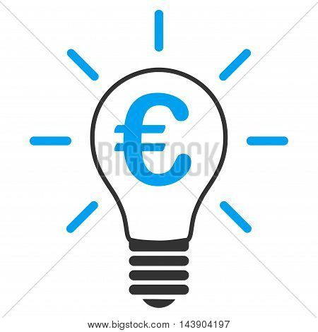 Euro Idea Bulb icon. Vector style is bicolor flat iconic symbol with rounded angles, blue and gray colors, white background.