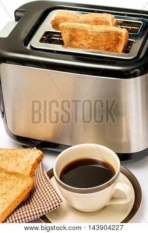 Coffee And Toast Indicates Morning Meal And Black