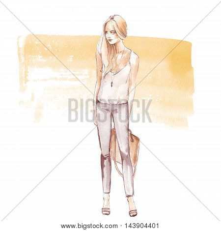 Street fashion 2. Summer girl. Watercolor sketch