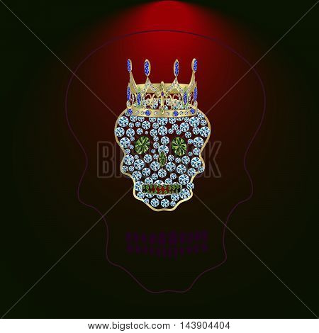 Skull of precious stones on a blue background. With tiara of brilliant
