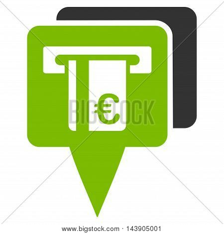 Euro Atm Pointers icon. Vector style is bicolor flat iconic symbol with rounded angles, eco green and gray colors, white background.