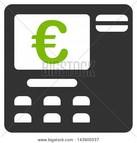 Euro Atm icon. Vector style is bicolor flat iconic symbol with rounded angles, eco green and gray colors, white background.