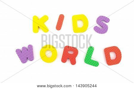 letters of kids world made by alphabet jigsaw puzzle on white