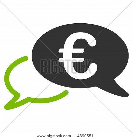 Euro Chat icon. Vector style is bicolor flat iconic symbol with rounded angles, eco green and gray colors, white background.