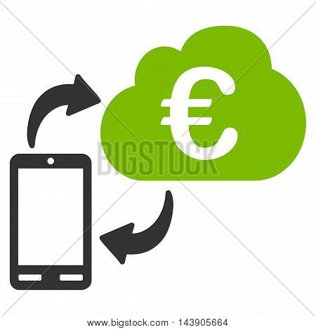 Euro Cloud Banking icon. Vector style is bicolor flat iconic symbol with rounded angles, eco green and gray colors, white background.