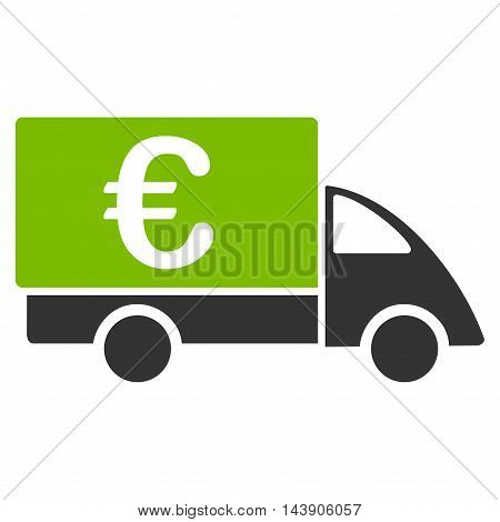 Euro Collector Car icon. Vector style is bicolor flat iconic symbol with rounded angles, eco green and gray colors, white background.