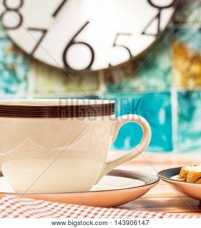 Breakfast Black Coffee Represents Meal Time And Beverages