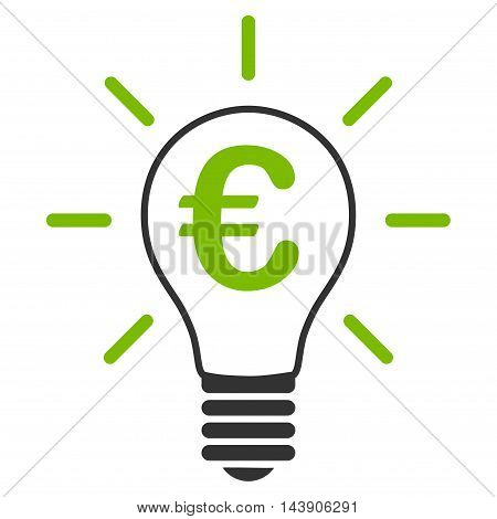 Euro Idea Bulb icon. Vector style is bicolor flat iconic symbol with rounded angles, eco green and gray colors, white background.