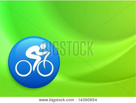 Cyclist Icon on Internet Button Original Vector Illustration