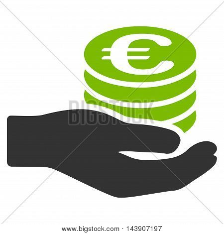 Euro Salary icon. Vector style is bicolor flat iconic symbol with rounded angles, eco green and gray colors, white background.
