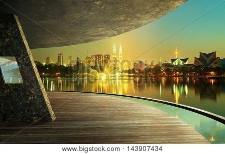 View from open space balconyKuala Lumpur city night night scene.