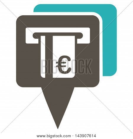 Euro Atm Pointers icon. Vector style is bicolor flat iconic symbol with rounded angles, grey and cyan colors, white background.