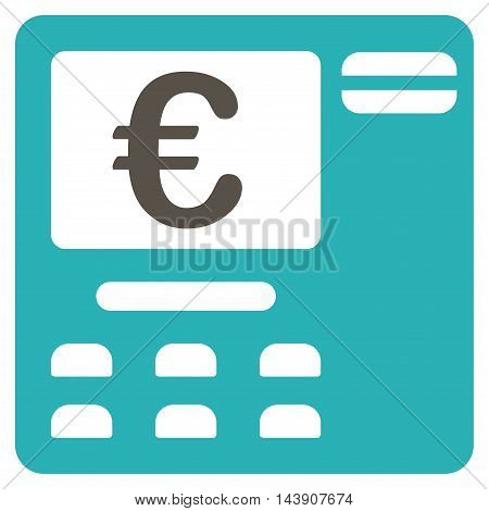 Euro Atm icon. Vector style is bicolor flat iconic symbol with rounded angles, grey and cyan colors, white background.