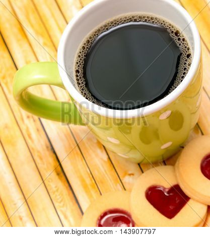 Freshly Brewed Coffee Shows Roasted Cafe And Tasty