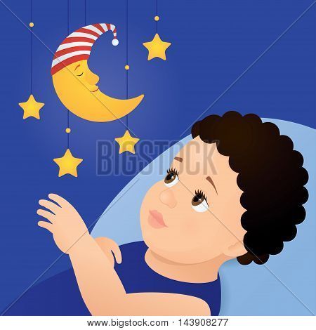 Vector illustration of a baby with brown eyes and dark curly hair lying on a blue pillow and looking at mobile toy with yellow moon and stars. Square format, blue background, close up.