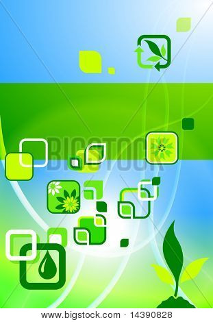 Environmental Icons on Nature Poster Background Original Vector Illustration