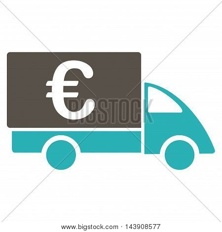 Euro Collector Car icon. Vector style is bicolor flat iconic symbol with rounded angles, grey and cyan colors, white background.