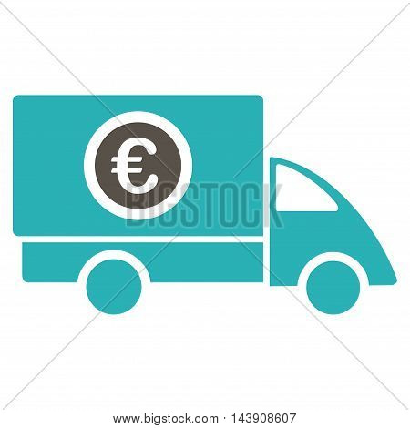 Euro Delivery icon. Vector style is bicolor flat iconic symbol with rounded angles, grey and cyan colors, white background.
