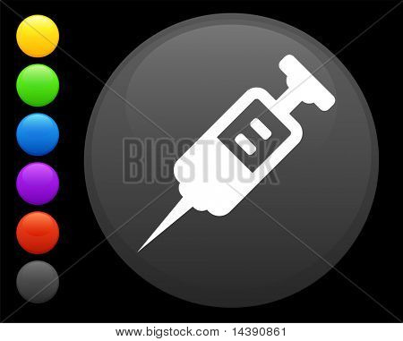 syringe icon on round internet button original vector illustration 6 color versions included