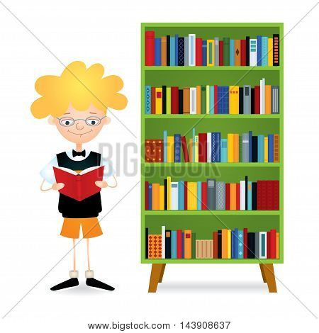 Vector colorful illustration of a boy with eyeglasses standing near a green bookcase full of books and reading. The kid wearing black sweater vest, orange shorts and bow tie. Isolated on white.
