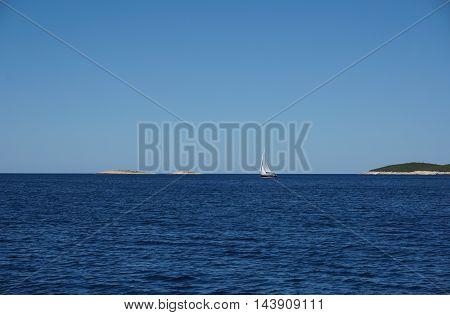 Sailing boat, seascape, Mediterranean, Adriatic sea, desert island.