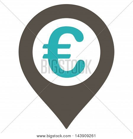 Euro Pushpin icon. Vector style is bicolor flat iconic symbol with rounded angles, grey and cyan colors, white background.