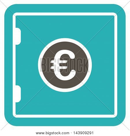 Euro Safe icon. Vector style is bicolor flat iconic symbol with rounded angles, grey and cyan colors, white background.