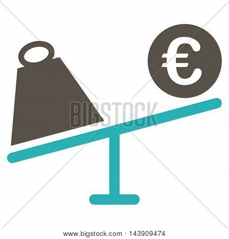 Euro Trade Swing icon. Vector style is bicolor flat iconic symbol with rounded angles, grey and cyan colors, white background.