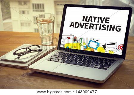 NATIVE ADVERTISING man hand work hard computer