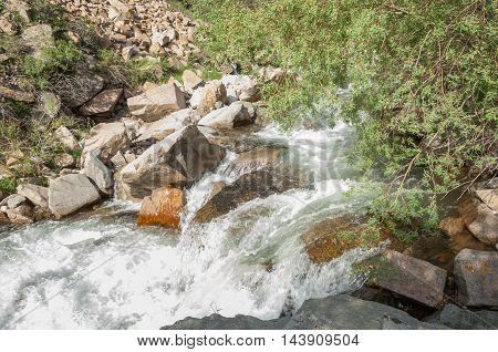 Kazakhstan, The Tien Shan Mountains. Trans-ili Alatau. High Plateau Assy. Mountain River, In The Mou